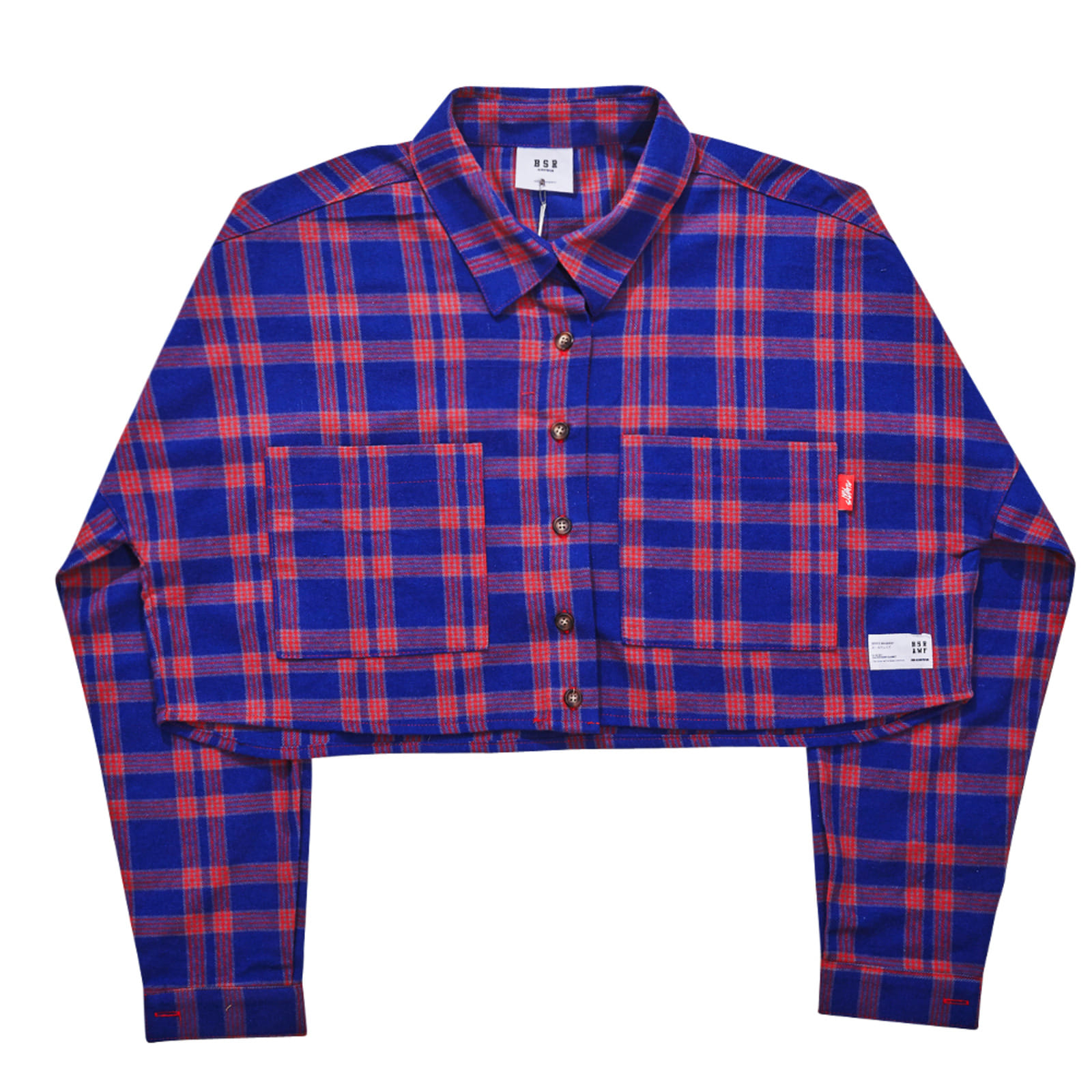 BSRAWF CHECK CROP SHIRT PURPLE