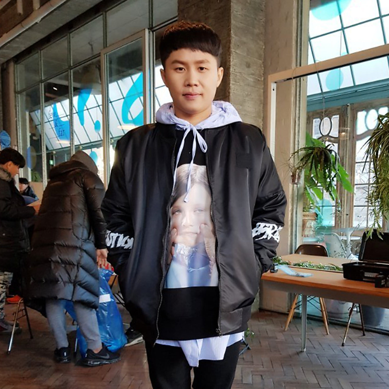 BSRABBIT bsrabbit@BSRABBIT CELEBRITY 양세형 비에스래빗 BSRABBIT MBC 예능 '무한도전' 479회 의상 협찬  Attention Stadium jacket BLACK