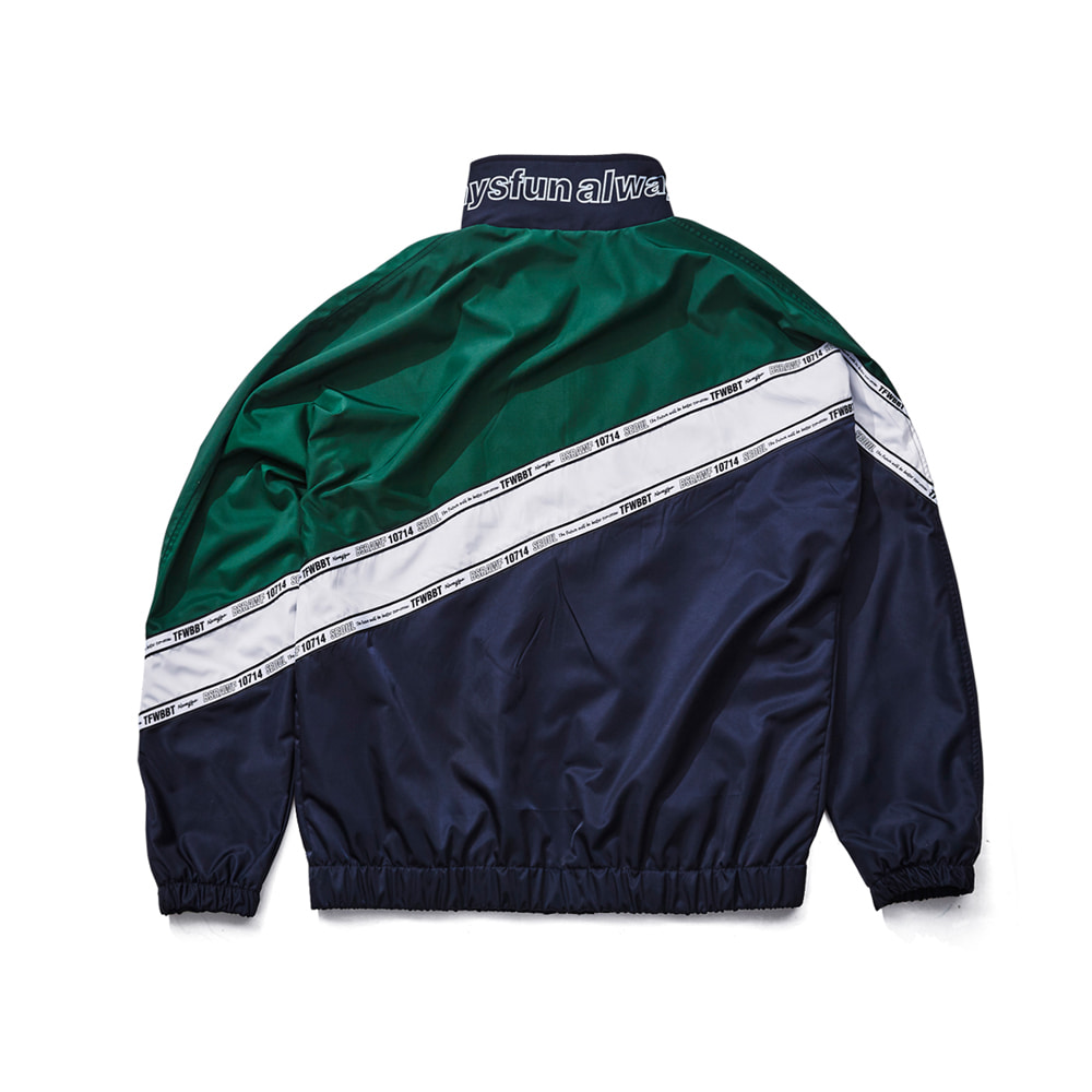BSRABBIT DIAGONAL LINE TRACK JACKET NAVY