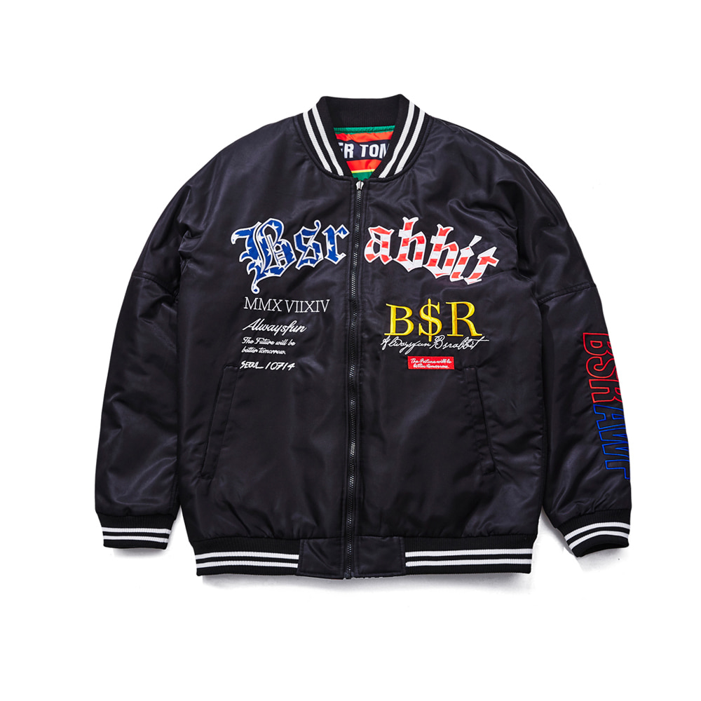 BSRABBIT IMPRESSION REVERSIBLE STADIUM JACKET BLACK