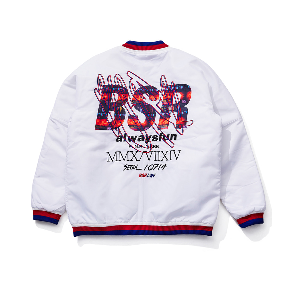 BSRABBIT BSR STICK OUT STADIUM JACKET WHITE
