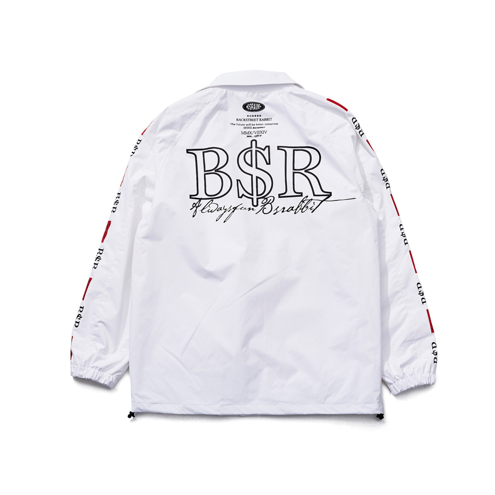 BSRABBIT BSR COACH JACKET WHITE
