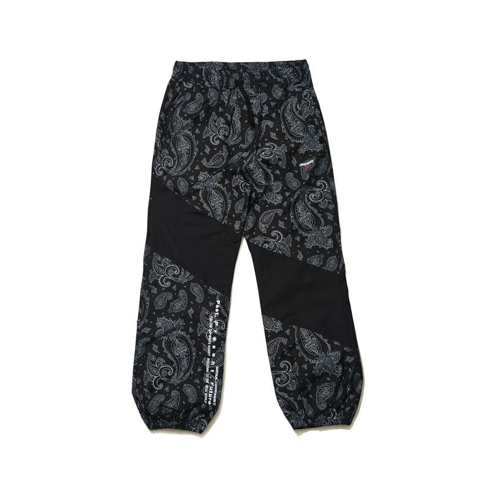 BSRABBIT DIAGONAL BOX JOGGER PANTS BLACK PAISLEY