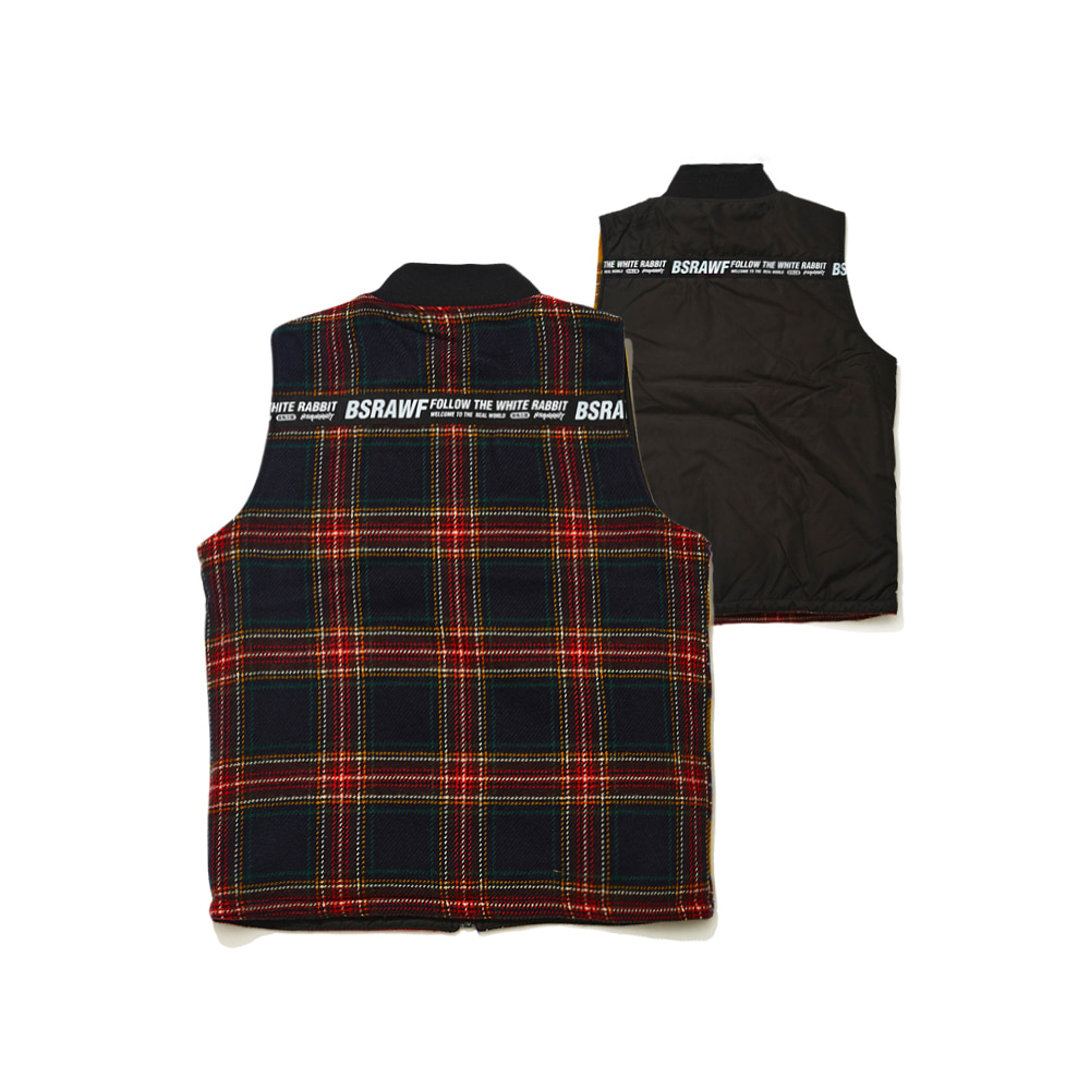 BSRABBIT ULTIMATE REVERSIBLE VEST BLACK/MIX CHECK