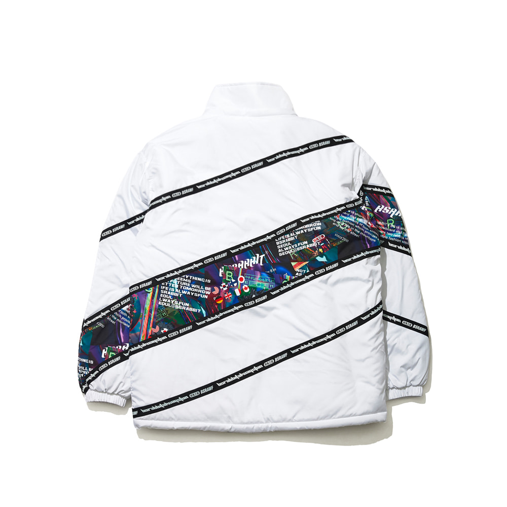 BSRABBIT DIAGONAL LINE PADDING JACKET WHITE