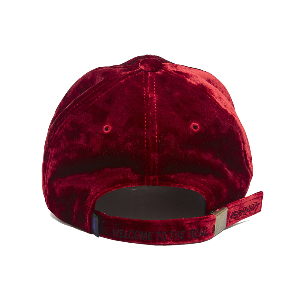 자체브랜드 BLING VELVET LOGO CAP RED