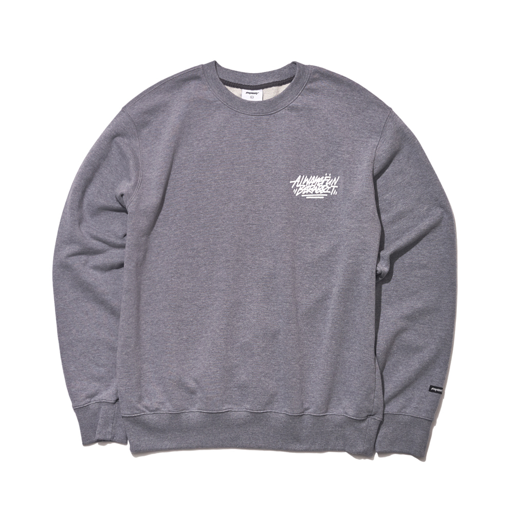 자체브랜드 ALWAYS BEAR RABBIT WELCOME DRY SWEAT SHIRT DARK GRAY