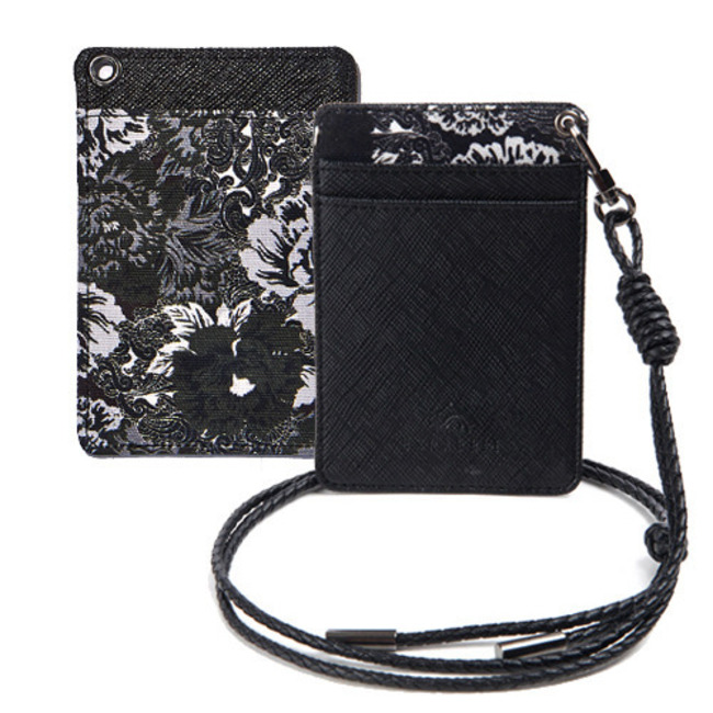 BS CARD HOLDER MONO FLOWER BLACK