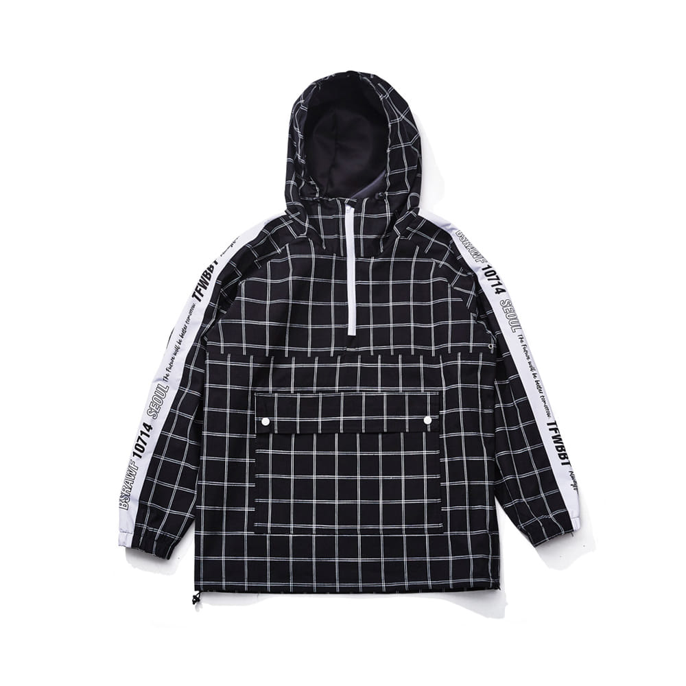 BSRABBIT POISE ANORAK JACKET BLACK CHECK