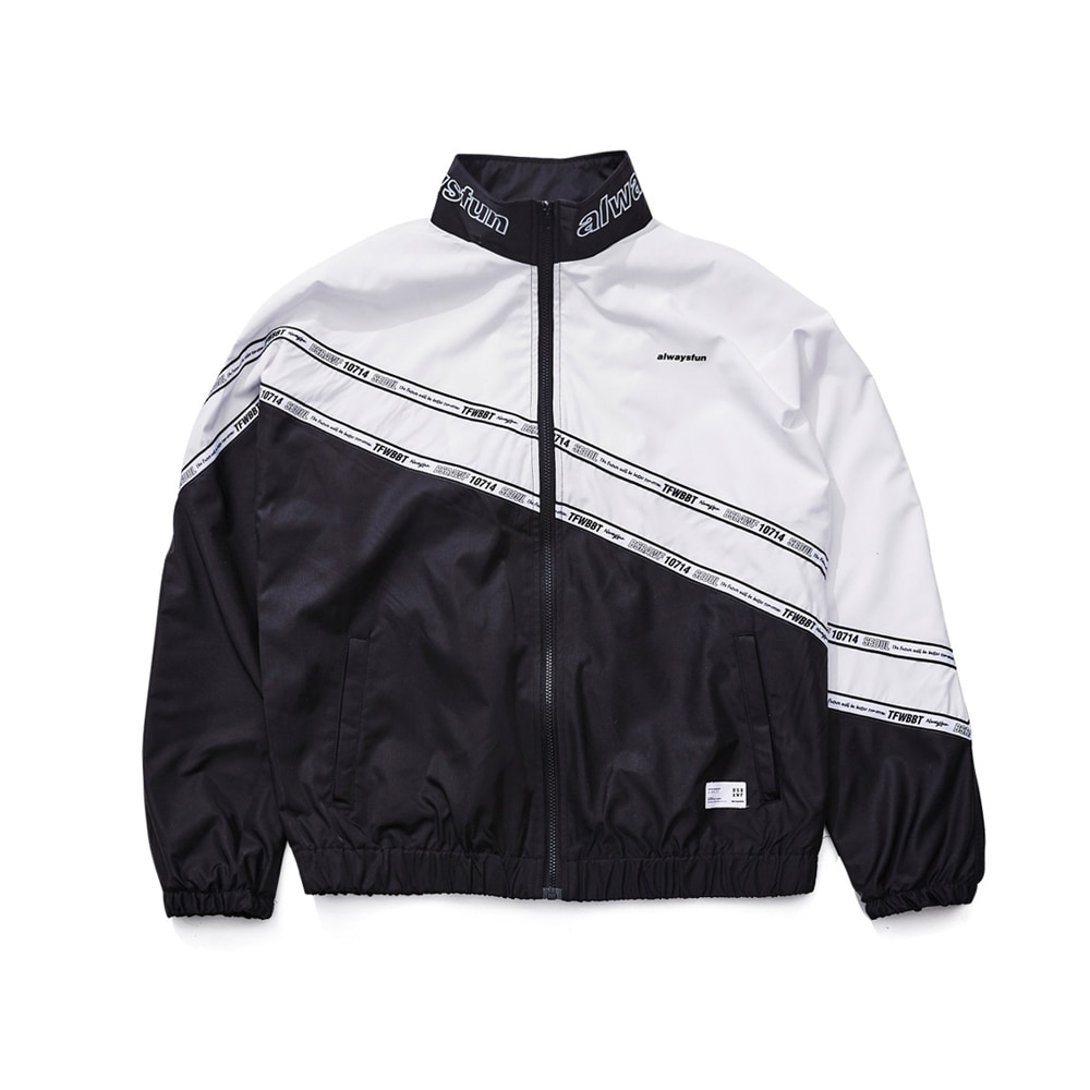 BSRABBIT DIAGONAL LINE TRACK JACKET BLACK
