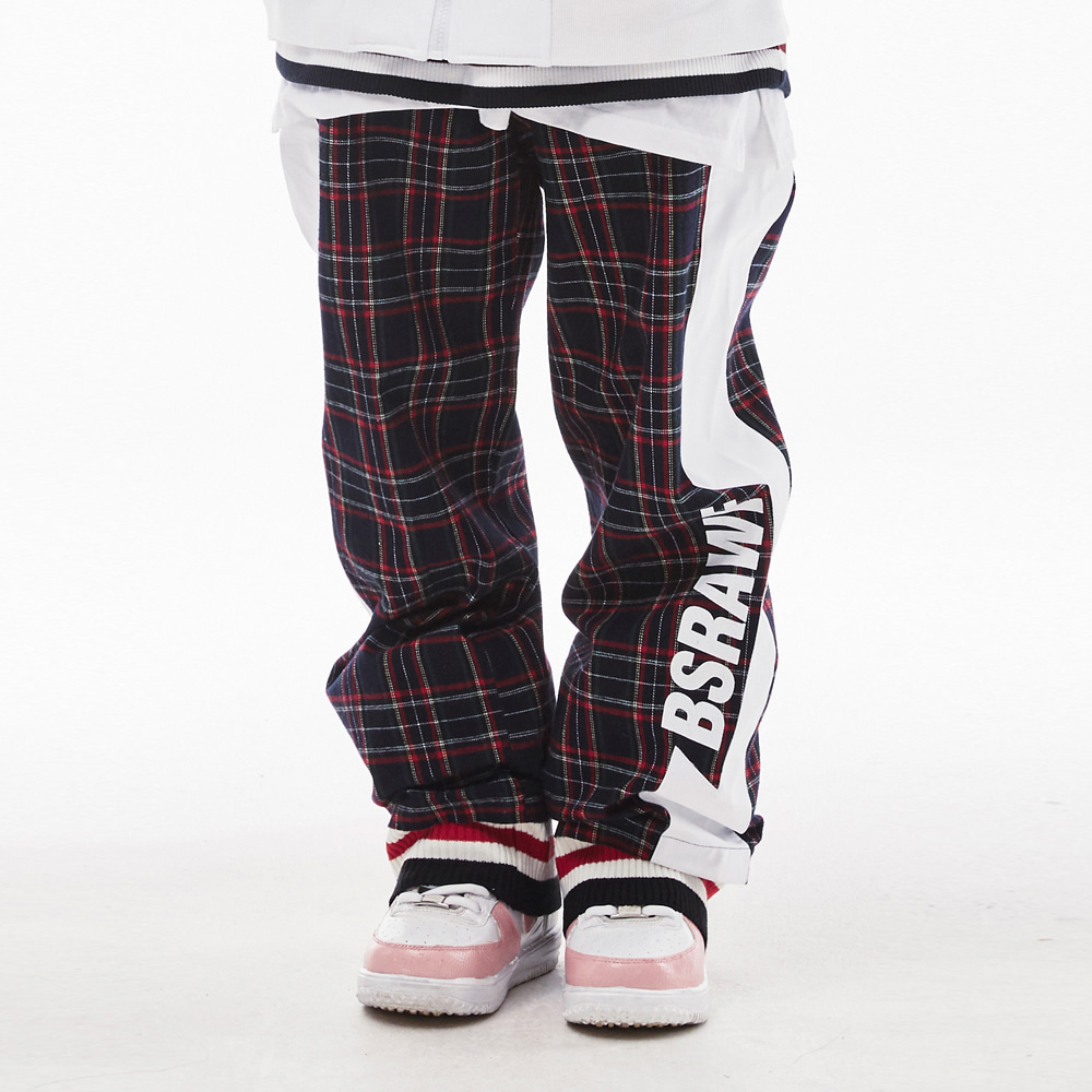 BSRABBIT BSRAWF WATERPROOF TRACK PANTS CHECK NAVY