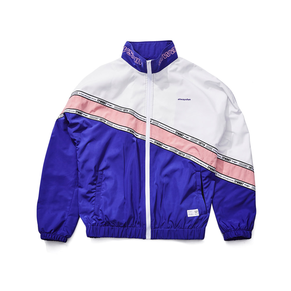 BSRABBIT DIAGONAL LINE TRACK JACKET PURPLE