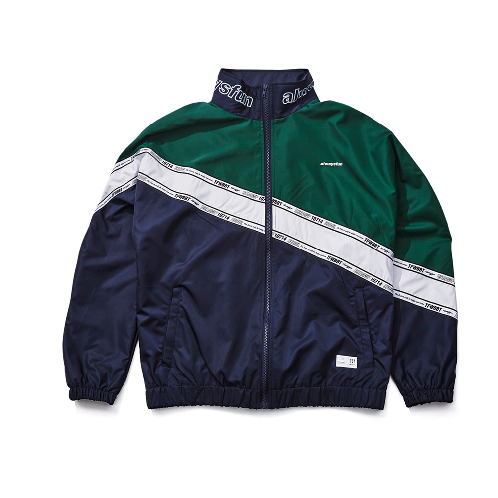 DIAGONAL LINE TRACK JACKET NAVY