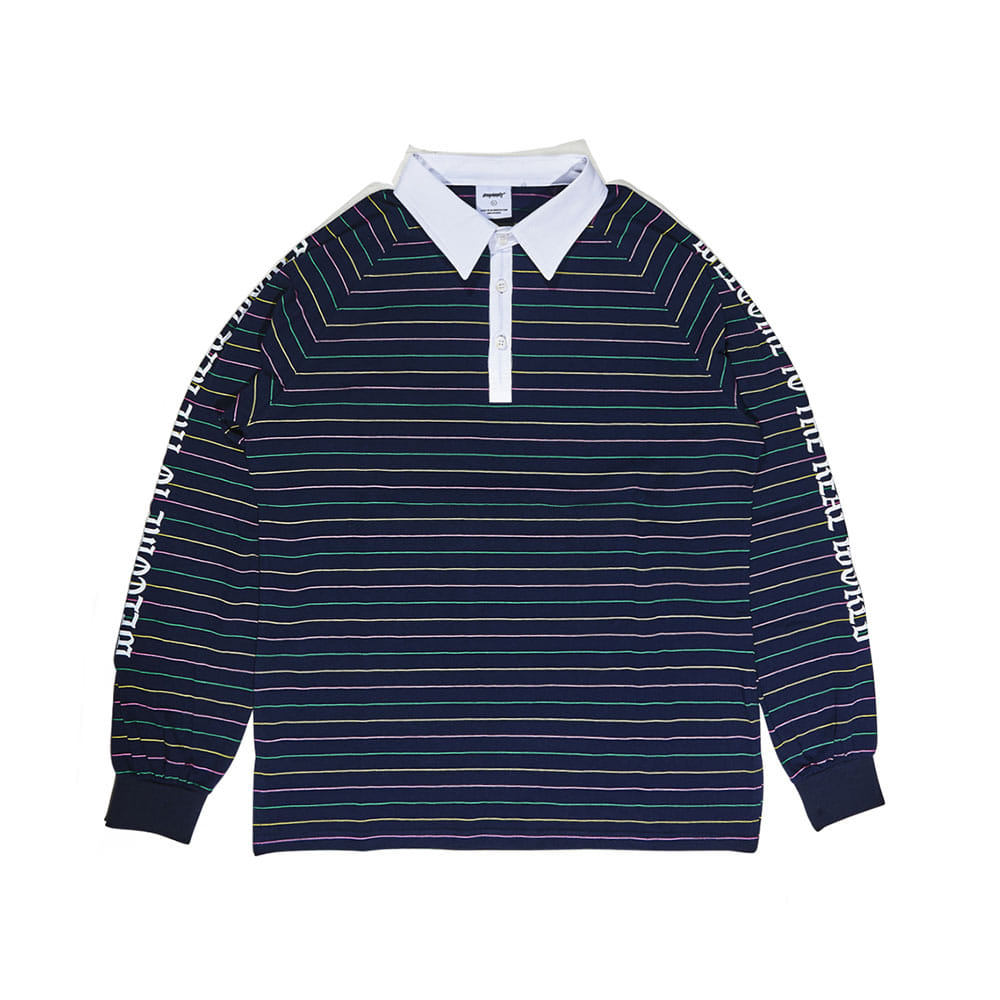 BSRABBIT WTTR LONG SLEEVE PIQUE STRIPE NAVY