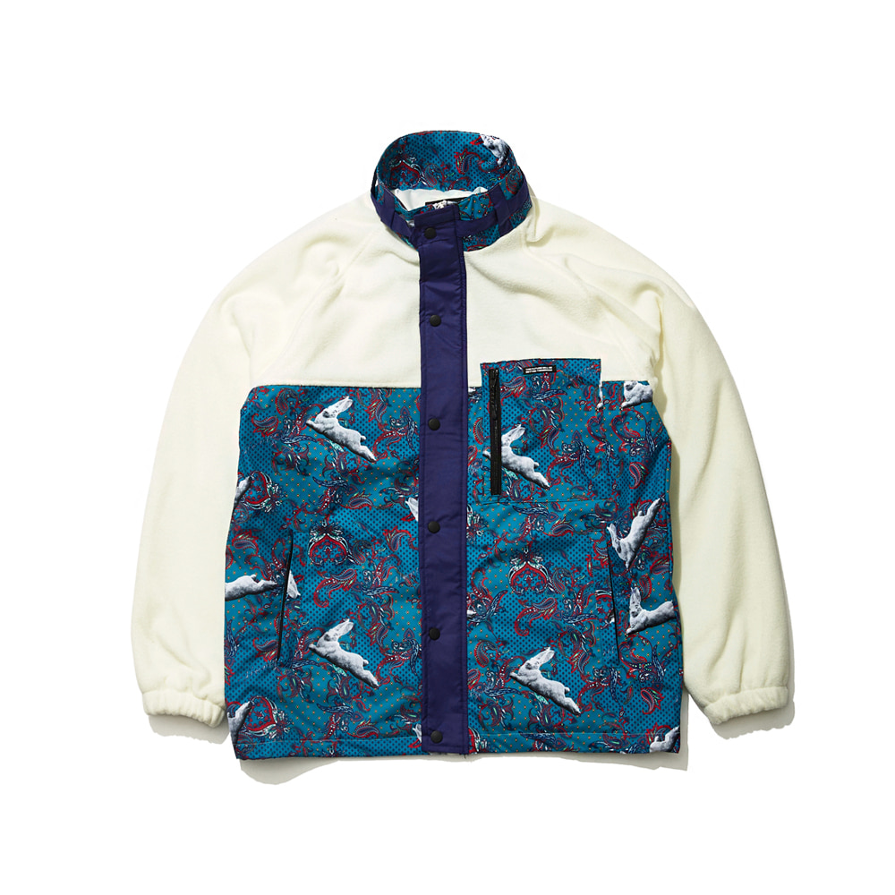 BSRABBIT SENSUAL FLEECE JACKET WHITE/MINT PAISLEY