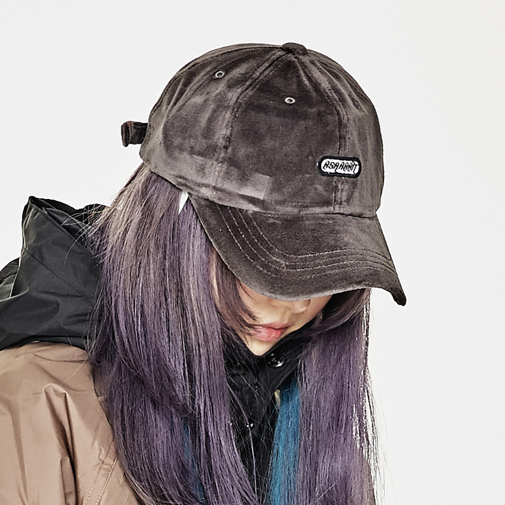 BSRABBIT BSR VELOUR CAP CHARCOAL