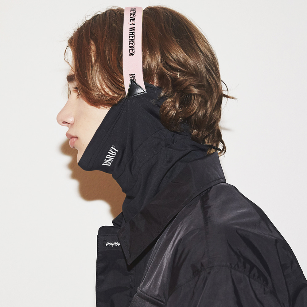 자체브랜드 BSRBT V-LINE INNER POCKET LOGO BAND BALACLAVA [BABY PINK BAND] [No.2] [필터교체형]