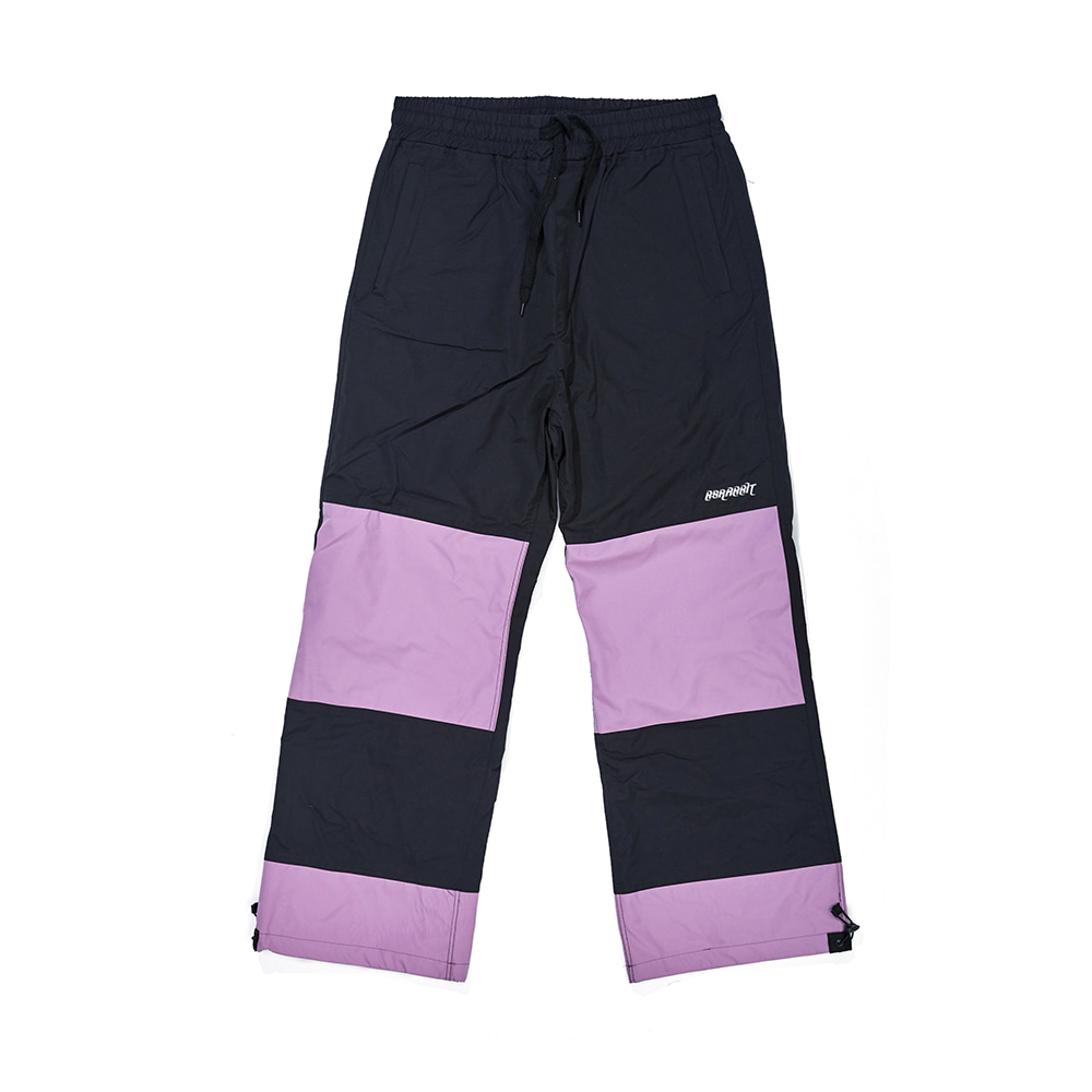 자체브랜드 DOUBLE BOX TRACK PANTS BLACK / PASTEL PURPLE