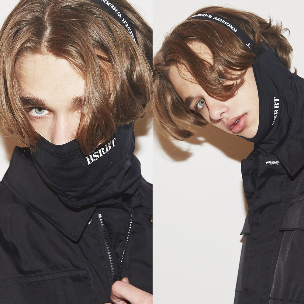 자체브랜드 BSRBT V-LINE INNER POCKET LOGO BAND BALACLAVA [BLACK BAND] [No.2] [필터교체형]
