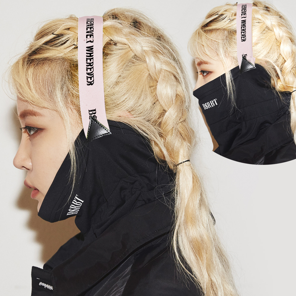 자체브랜드 BSRBT V-LINE INNER POCKET LOGO BAND BALACLAVA [BABY PINK BAND] [No.1] [필터교체형]