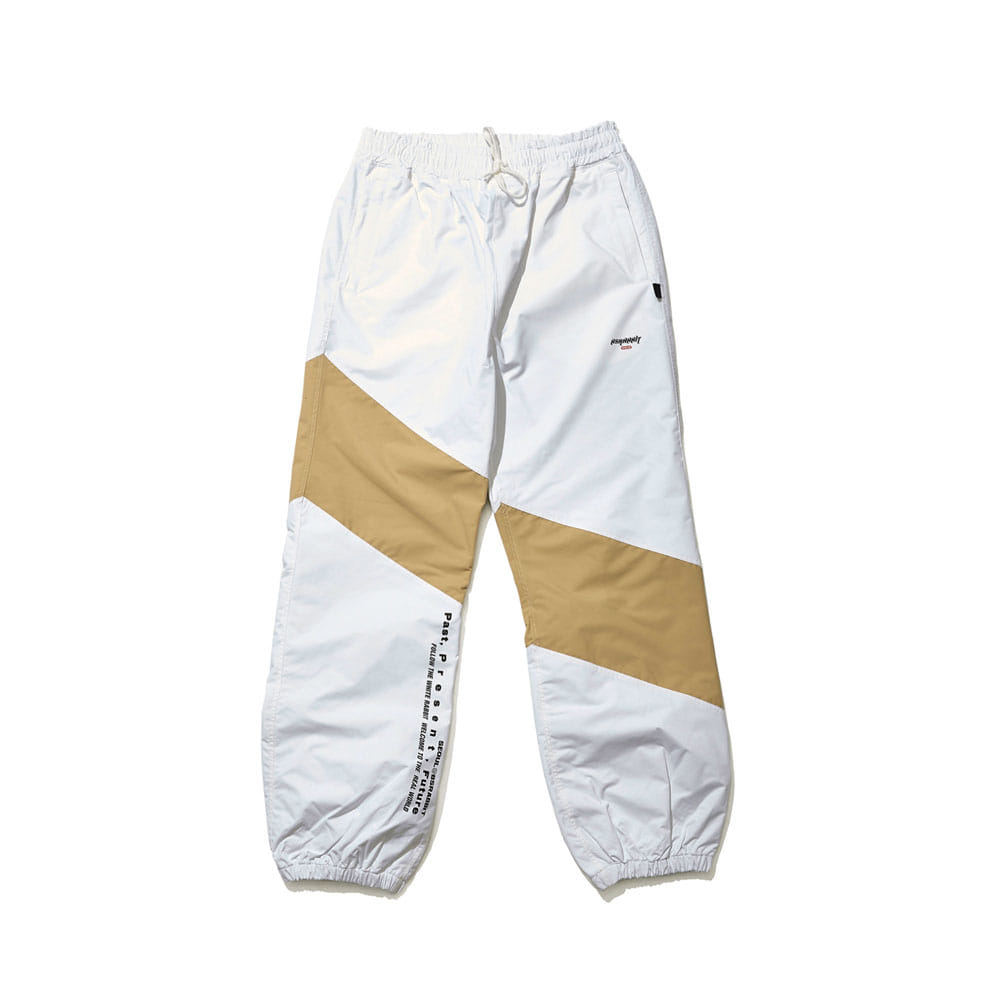 BSRABBIT DIAGONAL BOX JOGGER PANTS WHITE