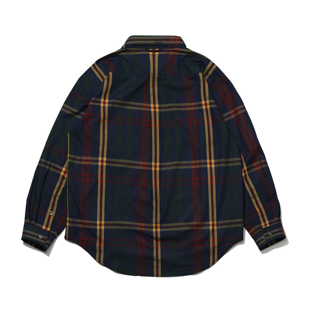 자체브랜드 BEAR RABBIT BIG CHECK OVER SHIRT NAVY/YELLOW