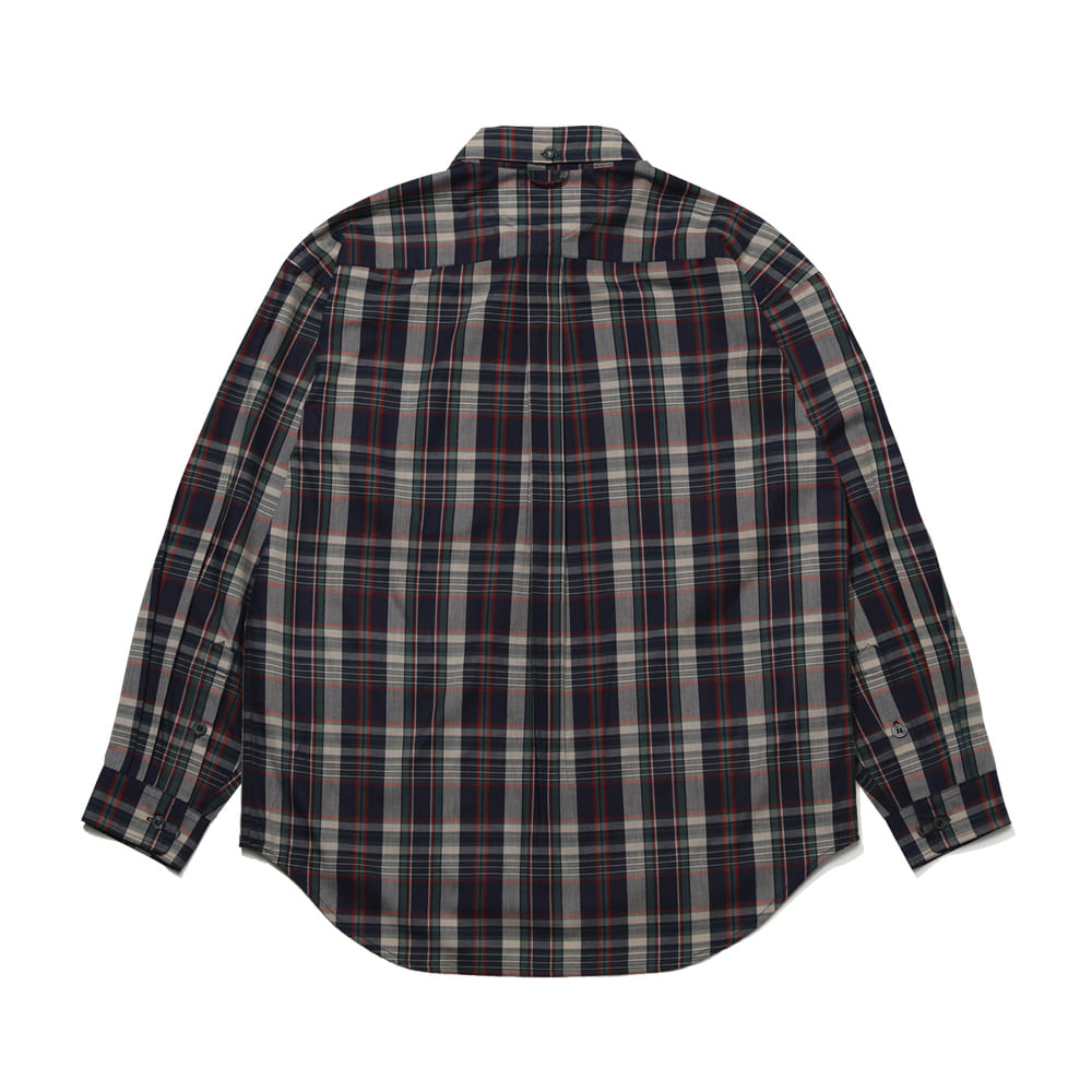 자체브랜드 BEAR RABBIT CHECK OVER SHIRT IVORY/NAVY