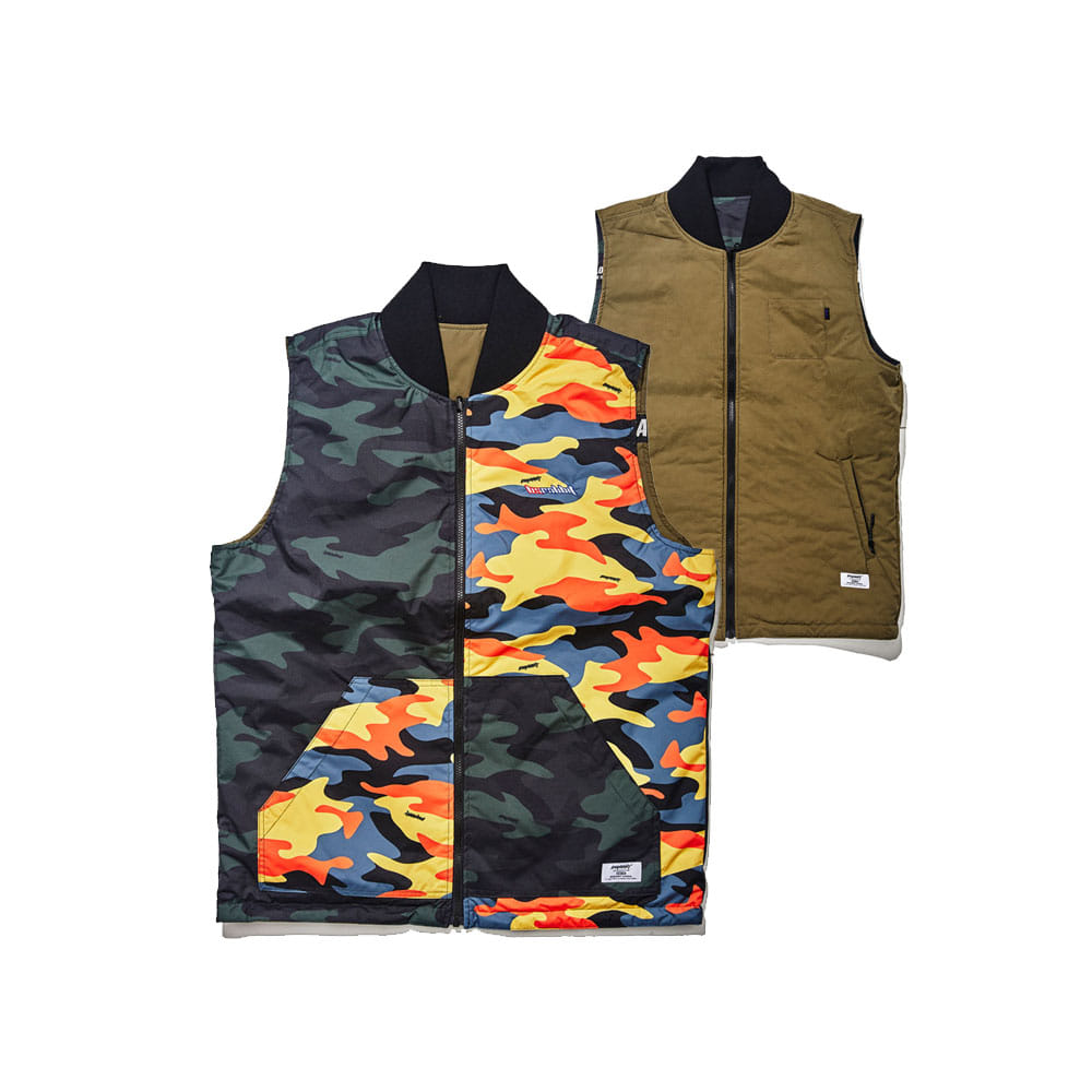 BSRABBIT ULTIMATE REVERSIBLE VEST KHAKI/MIX CAMO