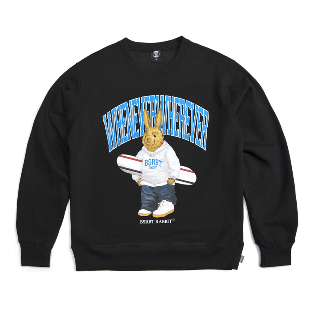 자체브랜드 WEWE BEAR RABBIT SWEAT SHIRT BLACK