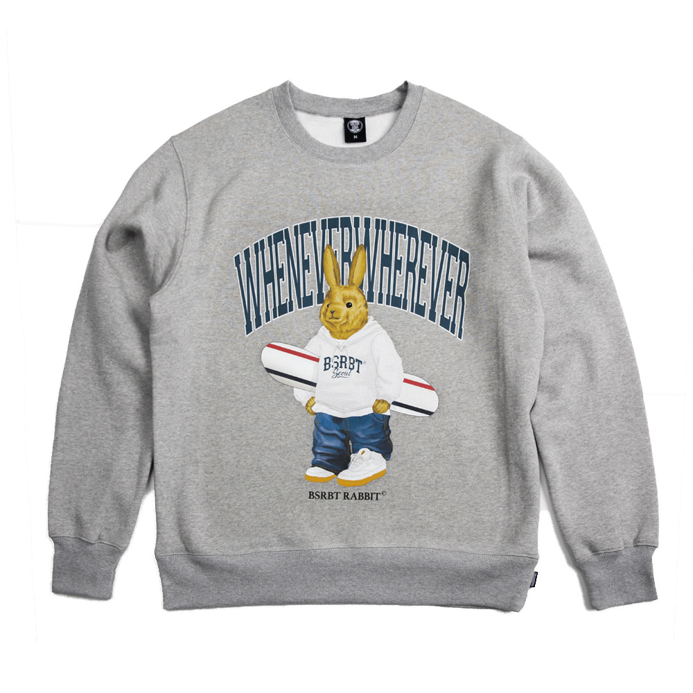 자체브랜드 WEWE BEAR RABBIT SWEAT SHIRT GRAY