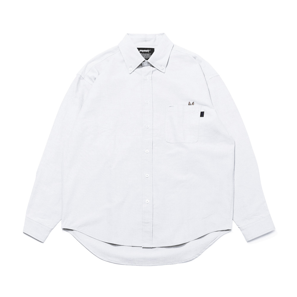 자체브랜드 BEAR RABBIT SOLID OXFORD OVER SHIRT WHITE
